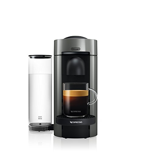 Picture of VertuoPlus coffee machine with glass mug and coffee