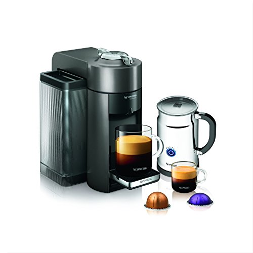Picture of Evoluo coffee machine with glass mug and coffee pods