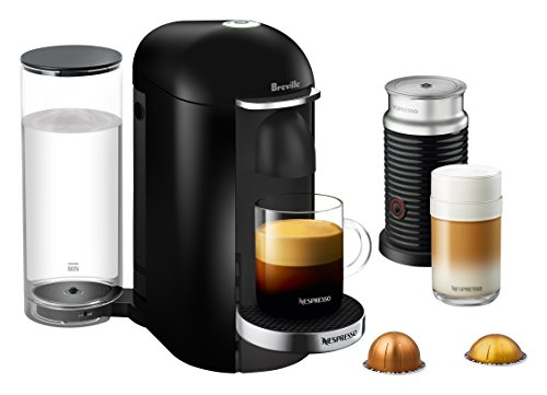 Picture of VertuoPlus Deluxe coffee machine with glass mug and coffee pods