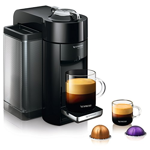 Picture of Evoluo Deluxe coffee machine with glass mug and coffee pods